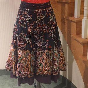 Flared multi coloured skirt